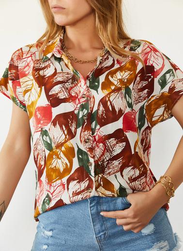XHAN Multi Desenli Yarasa Kol Gömlek 0Yxk2-43940-01 Renkli